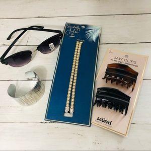 Accessory Bundle. Silver Cuff Bracelet Sunglasses